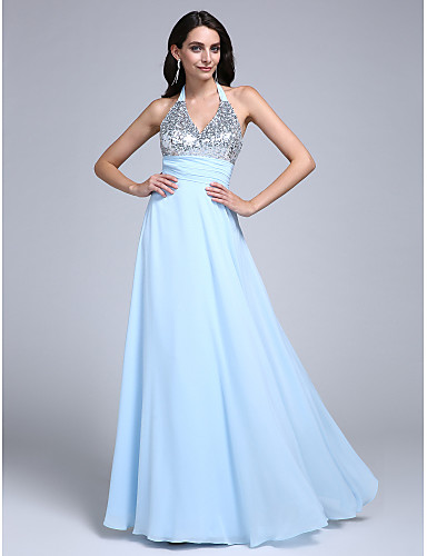 7f9bf03606a Sheath   Column Halter Neck Floor Length Chiffon Sparkle   Shine Prom    Formal Evening Dress
