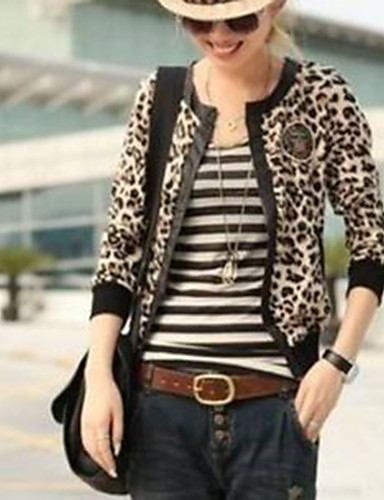 レディース お出かけ 春 秋 ジャケット,ストリートファッション シャツカラー レオパード ポリエステル 長袖