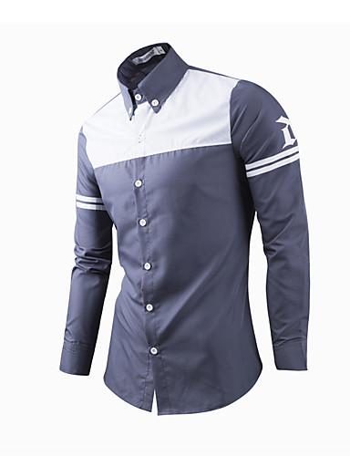 Bomull Langermet Skjorte Trykt mønster Lapper Vår Høst Formell Fritid/hverdag Herre