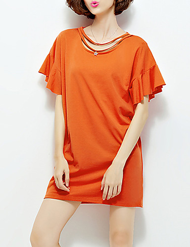 Kortærmet Rund hals Tynd Kvinders Orange / Gul / Lilla Ensfarvet Sommer Simpel Casual/hverdag T-shirt,Bomuld
