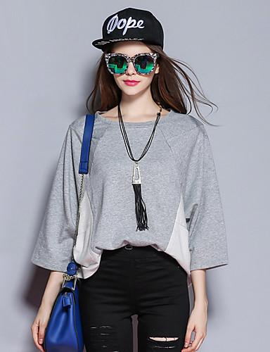 sybel kvinders gå ud / gade chic kort pullover, farve blok grå rund hals lang sleevecotton /