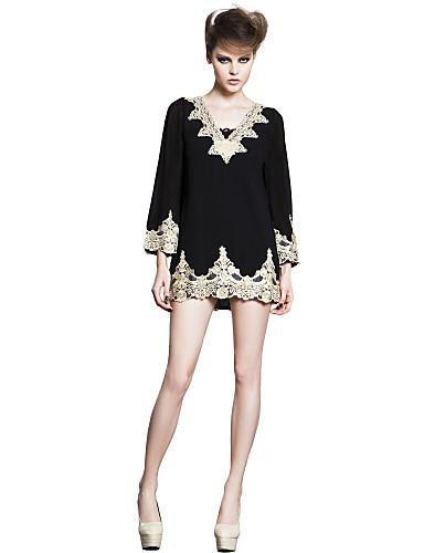 JoanneKitten Women's Solid White / Black Dress , Vintage / Sexy / Lace / Cute / Party / Work V Neck Long Sleeve Dresses