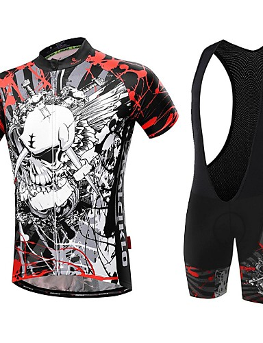 3aaced7bf Malciklo Men s Short Sleeve Cycling Jersey with Bib Shorts - White Black  Skull Bike Clothing Suit Breathable 3D Pad Quick Dry Back Pocket Sports  Coolmax® ...