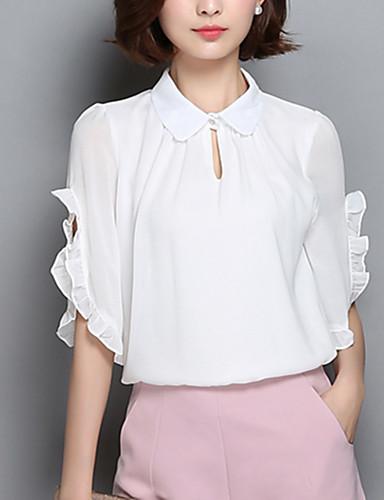 Polyester Blå / Rosa / Hvit Tynn Halvlange ermer,Skjortekrage Bluse Ensfarget Vår / Sommer Enkel Fritid/hverdag Kvinner