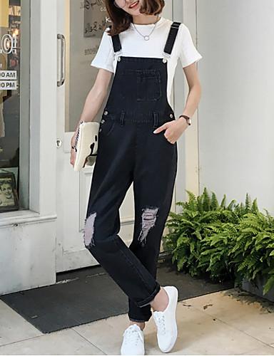 Dame Vintage Uelastisk Jeans Overalls Bukser Bomuld Ensfarvet Sommer