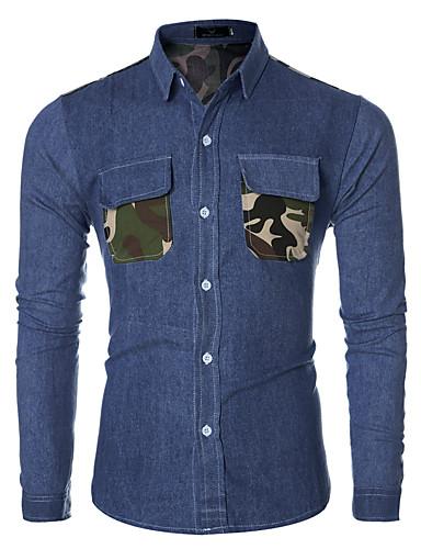 Langærmet camouflage Mænds Fritid / Arbejde Skjorte Bomuld / Polyester Blå