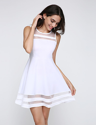 Women's Casual Skater Dress - Solid Colored High Rise Mini