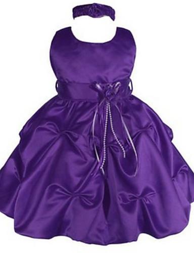 Vestido de vestidos de baile com vestido de menina com flor - Jóias com colarinho sem mangas com applique