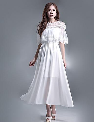 Damen Hülle Kleid-Lässig/Alltäglich Einfach Solide Rundhalsausschnitt Maxi ½ Länge Ärmel Polyester Frühling Mittlere Hüfthöhe