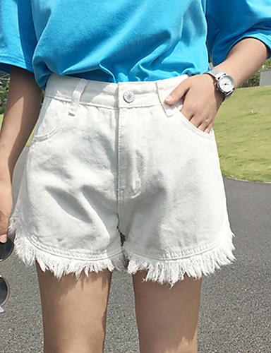 Dame Afslappet Shorts Jeans Bukser Ensfarvet