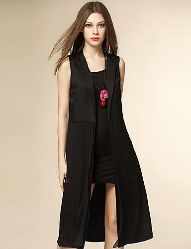 engel kvinders casual / daglig street chic sommer blazer, solid hak revers ærmeløs sort silke tynde
