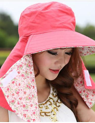Damer Afslappet Solhat,Bomuld Sommer Solid Sort Beige Lys pink