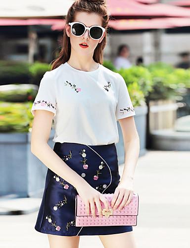 Dames Street chic Zomer Set Rok Suits,Casual/Dagelijks Geborduurd Ronde hals Korte mouw Wit Katoen / Polyester Dun