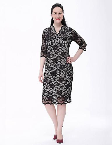 7199b625cda Women s Lace Plus Size Vintage Lace Dress - Solid Colored Lace V Neck  Spring Black Beige XXXXL XXXXXL XXXXXXL