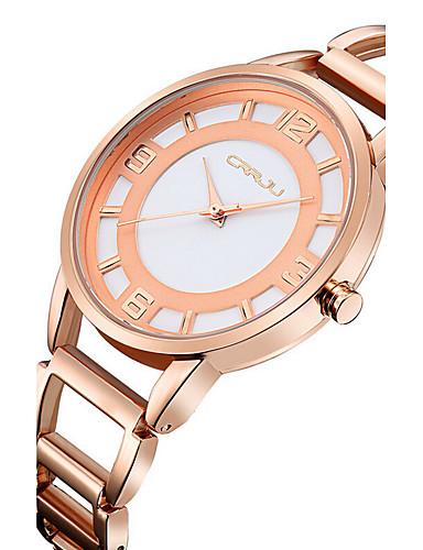 Dames Skeleton horloge Modieus horloge Japanse quartz Waterbestendig Hol Gegraveerd Roestvrij staal Band Bangle Zilver Goud Goud Rose