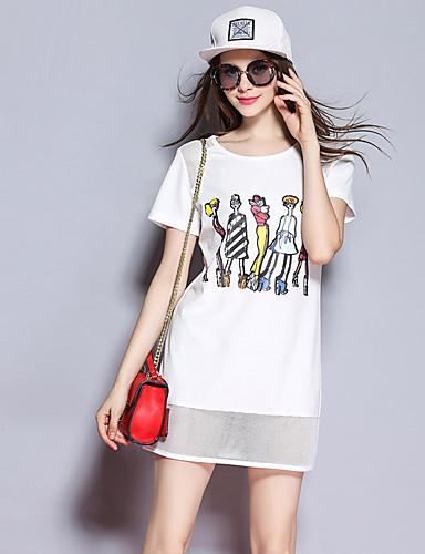 sybel kvinders gå ud / gade chic sommer / efterår t-shirt, patchwork rund hals kortærmet hvid polyester