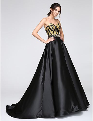 Linha A Decote Princesa Longo Cetim Evento Formal Vestido com Lantejoulas de TS Couture®