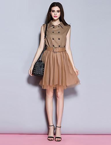 Sybel kvinners går ut / street chic skjede kjolen, solid / patchwork skjortekragen over kneet ermeløs greencotton /