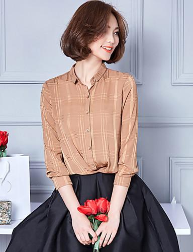 Polyester Skjortekrage Skjorte - Ensfarget Dame