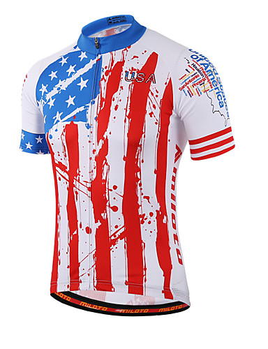 cheap Cycling Clothing-Miloto Men's Women's Short Sleeve Cycling Jersey Red and White Stripes Plus Size Bike Shirt Sweatshirt Jersey Breathable Quick Dry Reflective Strips Sports Coolmax® 100% Polyester Mountain Bike MTB