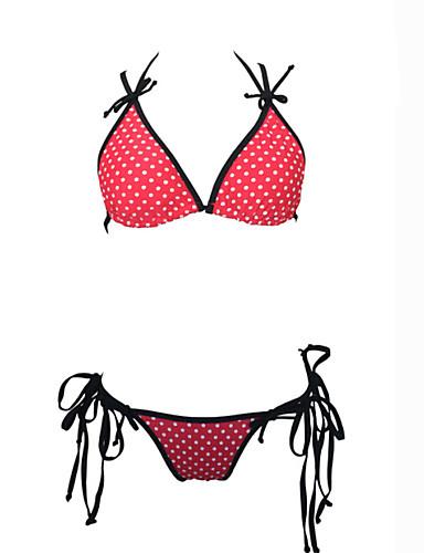 Kvinders Nylon / Spandex Halterneck Prikket / Kontor / Bedrift Bikini