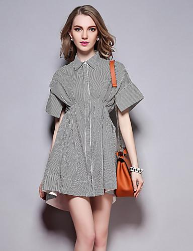 sybel naisten menossa / katu tyylikäs löysä mekko, raidallinen paita kaulus edellä polven lyhythihainen musta puuvilla