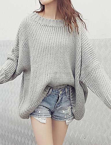 Dame Vintage I-byen-tøj Normal Pullover Patchwork,Grå Rund hals Langærmet Bomuld Efterår Medium Mikroelastisk