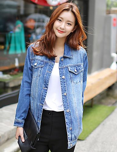 Damen Solide Einfach Lässig/Alltäglich Jeansjacken,Ständer Frühling Langarm Blau Baumwolle Mittel