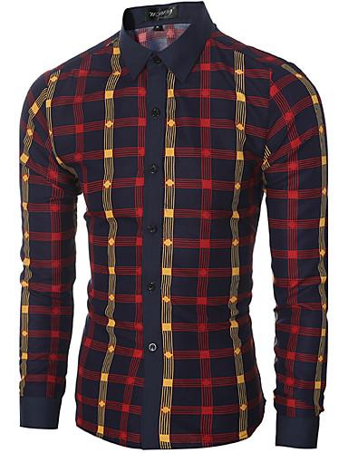 Pánské - Kostičky Čínské vzory Košile Bavlna Klasický límeček