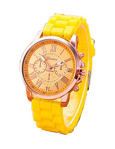 Mulheres Relógio de Moda Bracele Relógio Quartzo Relógio Casual Borracha Banda camuflagem Preta Branco Vermelho Laranja Marrom Verde Rosa