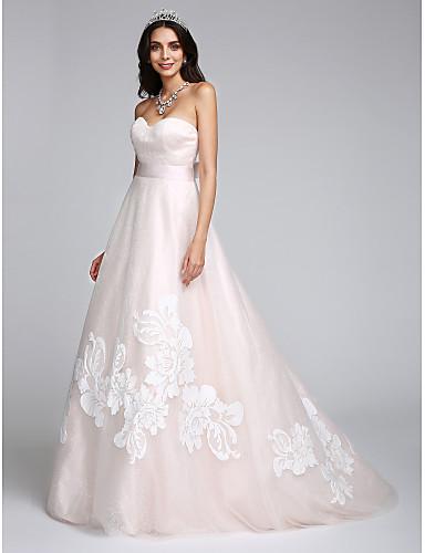 A-Şekilli Kalp Yaka Süpürge / Fırça Kuyruk Tül Aplik ile Düğün elbisesi tarafından LAN TING BRIDE®