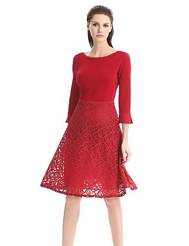 Mulheres Bainha Vestido,Casual / Tamanhos Grandes Moda de Rua Sólido Decote Redondo Altura dos Joelhos Manga ¾ Azul / Vermelho / Preto