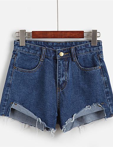 Eenvoudig-Katoen-Micro-elastisch-Kort / Jeans-Broek-Vrouwen