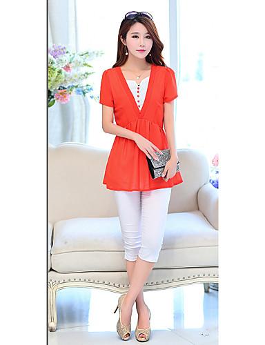 Kortærmet Asymetrisk Medium Kvinders Blå / Grøn / Orange Ensfarvet Sommer Simpel / Sødt I-byen-tøj Bluse,Polyester