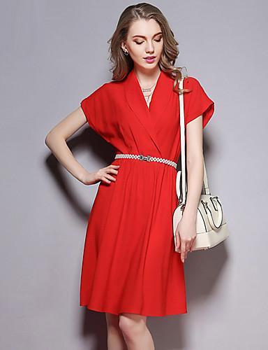 sybel kvinders gå ud street chic løs kjole, solid rund hals over knæet kort ærme sommer rød polyester