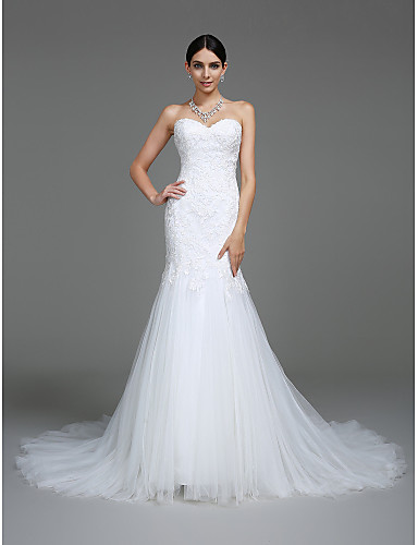 674a19b397135 Mermaid / Trumpet Sweetheart Neckline Court Train Lace Over Tulle  Made-To-Measure Wedding Dresses with Appliques by LAN TING BRIDE®