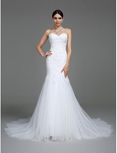 Trompeta / Sirena Escote Corazón Corte Encaje sobre tul Vestidos de novia hechos a medida con Apliques por LAN TING BRIDE®