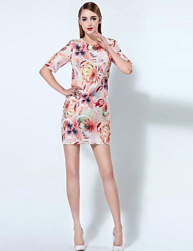Kvinders Kineseri I-byen-tøj Skede Kjole Trykt mønster,Rund hals Over knæet 1/2 ærmelængde Rosa Polyester Sommer