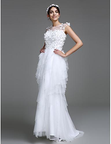 Trapèze Illusion Neckline Longueur Sol Tulle Robes de mariée personnalisées avec Fleur par LAN TING BRIDE®