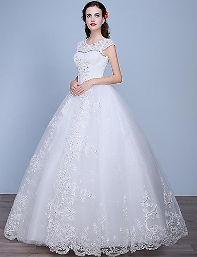 Linha A Longo Renda Tule Vestido de casamento com Miçangas Renda de
