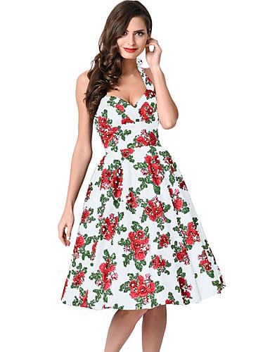 Mulheres Rodado Vestido Floral Decote V Cintura Alta