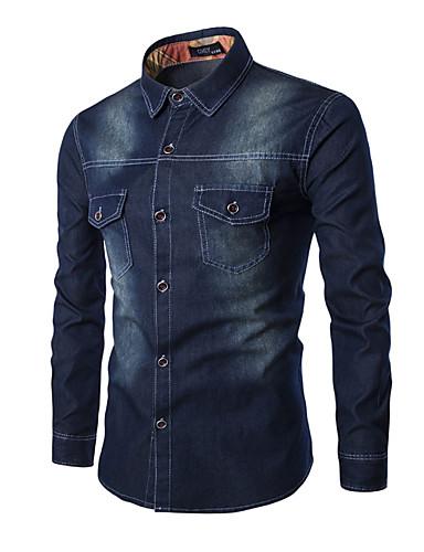 Effen-Werk / Formeel-Heren-Katoen / Polyester-Overhemd-Lange mouw-Blauw