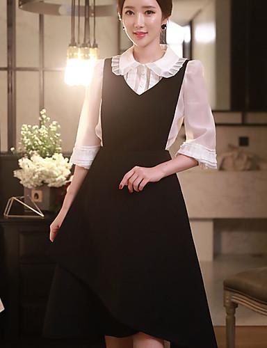 Dame Vintage Sødt Sofistikerede I-byen-tøj Afslappet/Hverdag Arbejde A-linje Kjole Ensfarvet,Med stropper Knælang Uden ærmer Sort