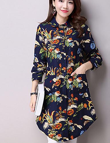 chemise femme fleur coton chic de rue col de chemise de 5184948 2018. Black Bedroom Furniture Sets. Home Design Ideas