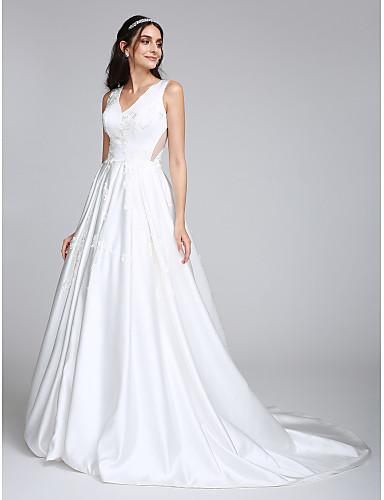 Trapèze Col en V Traîne Tribunal Satin Robes de mariée personnalisées avec Appliques par LAN TING BRIDE®