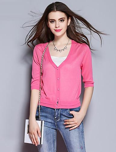 sybel kvinders gå ud / kineserier kort cardigan, solid pink / rød / hvid v hals ½ længde ærme rayon