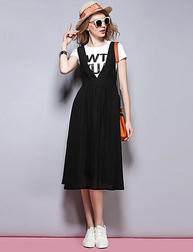 sybel naisten menossa / katu tyylikäs tuppi mekko, kiinteä syvä v midi hihaton musta polyesteri kesällä / syksyllä