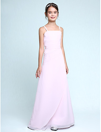 Sheath Column Spaghetti Straps Floor Length Chiffon Junior
