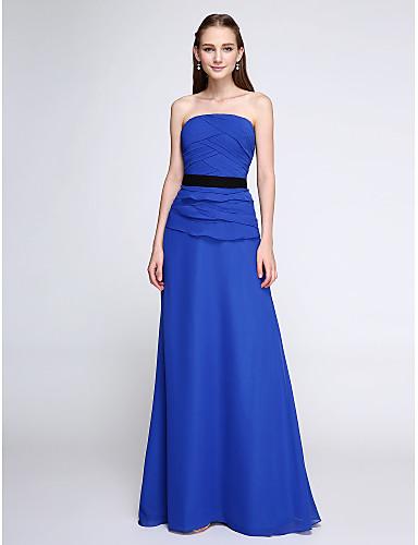 Ίσια Γραμμή Στράπλες Μακρύ Σιφόν Φόρεμα Παρανύμφων με Χιαστί με LAN TING BRIDE®