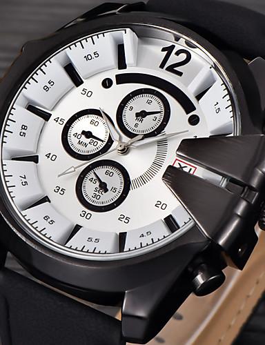 Homens Relógio Esportivo Relógio Militar Relógio Elegante Relógio de Moda Relógio de Pulso Quartzo Calendário Punk Couro Banda Vintage